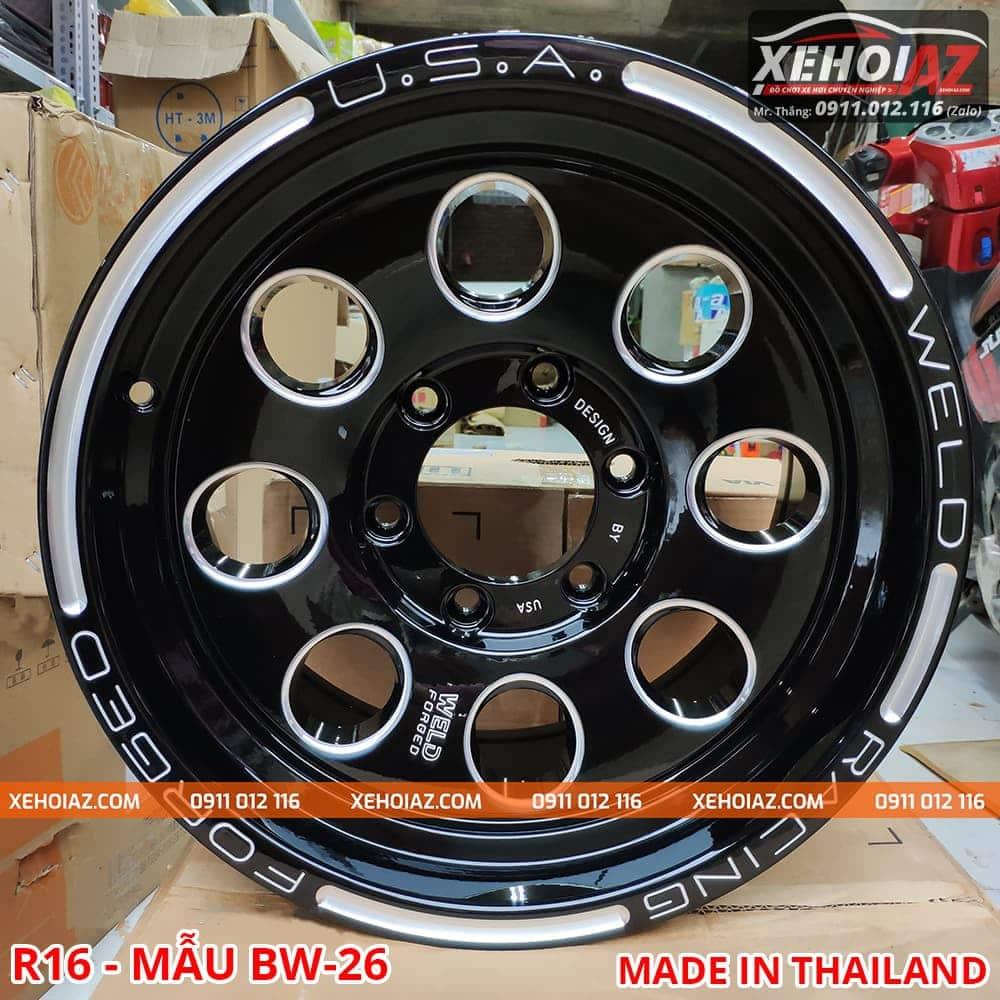 lazang oto thai lan 16 inch ban tai mau bw 26 01 - Lazang ô tô 16 inch 6 lỗ lắp cho xe bán tải Mẫu BW-26 (Hàng Thái Lan)